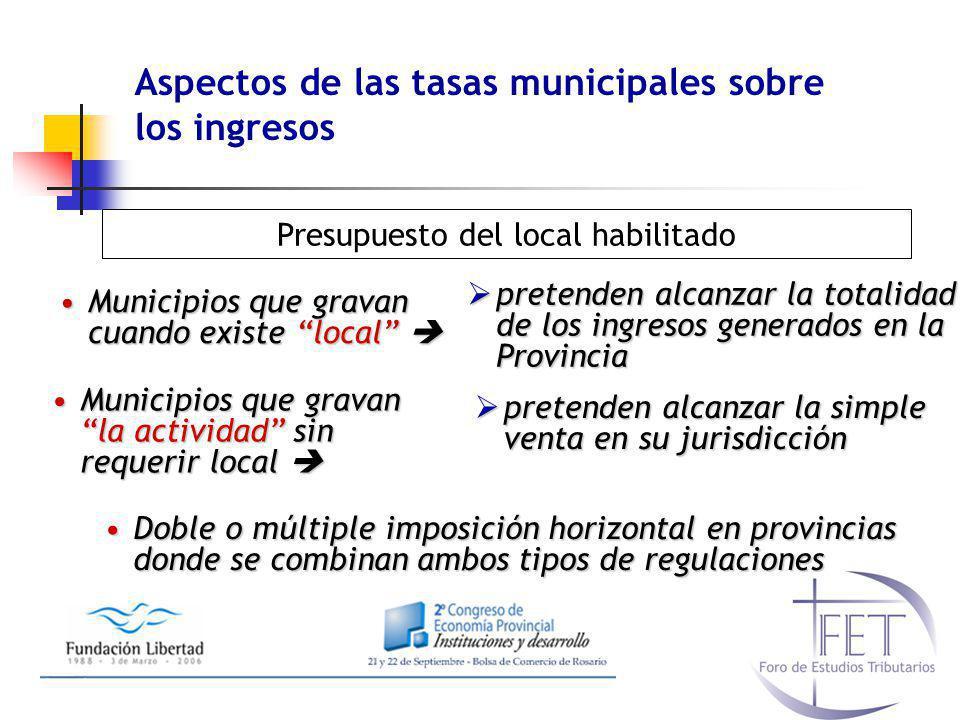 Aspectos de las tasas municipales sobre los ingresos