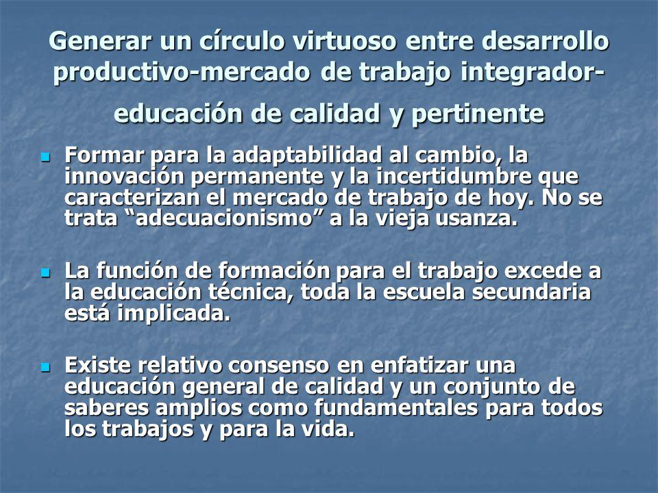 Generar un círculo virtuoso entre desarrollo productivo-mercado de trabajo integrador-educación de calidad y pertinente