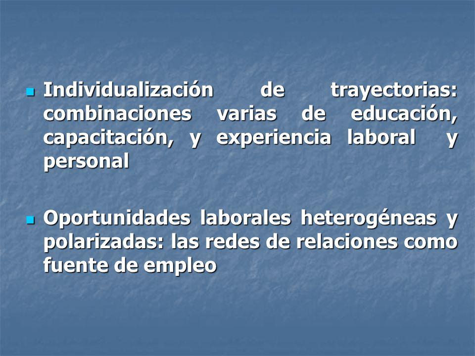 Individualización de trayectorias: combinaciones varias de educación, capacitación, y experiencia laboral y personal