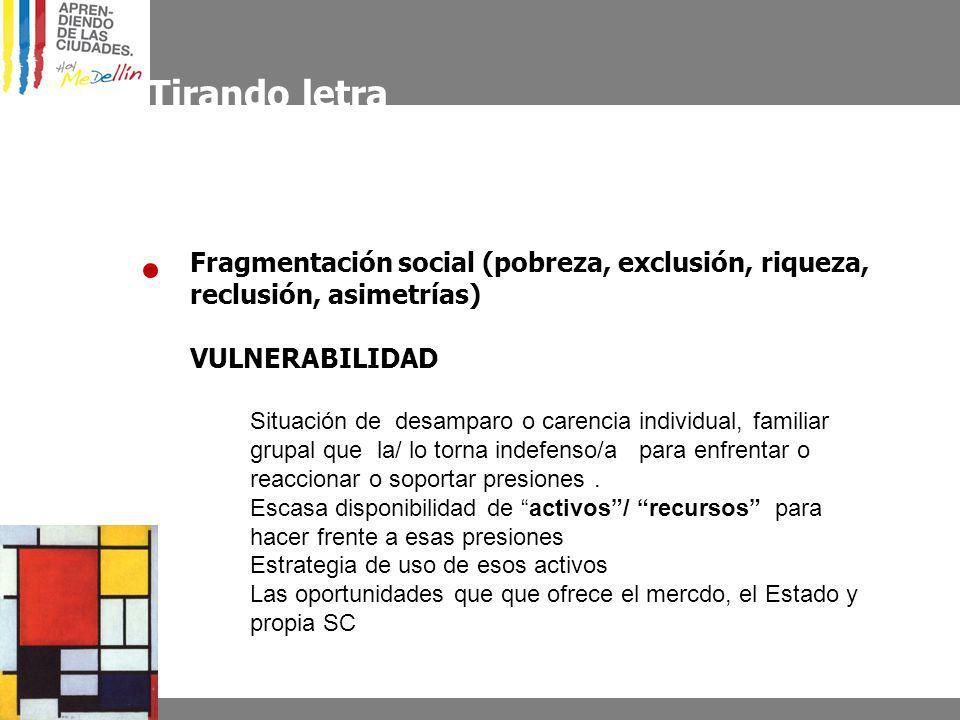 Tirando letra Fragmentación social (pobreza, exclusión, riqueza, reclusión, asimetrías) VULNERABILIDAD.