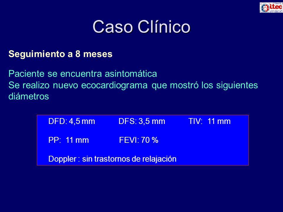 Caso Clínico Seguimiento a 8 meses Paciente se encuentra asintomática