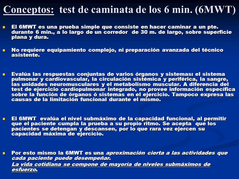 Conceptos: test de caminata de los 6 min. (6MWT)
