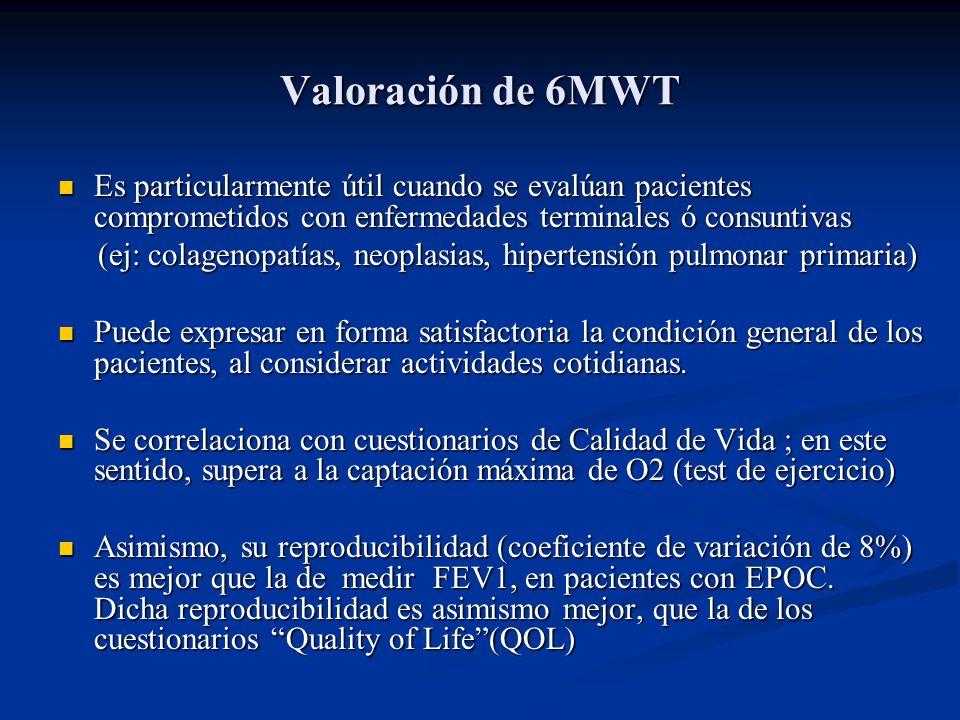 Valoración de 6MWT Es particularmente útil cuando se evalúan pacientes comprometidos con enfermedades terminales ó consuntivas.