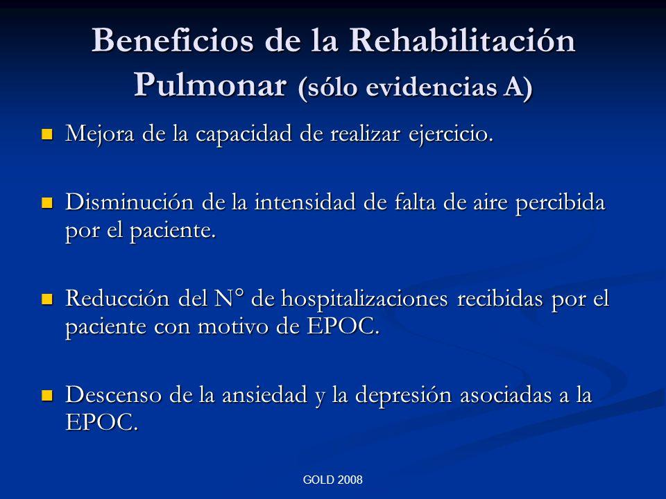 Beneficios de la Rehabilitación Pulmonar (sólo evidencias A)