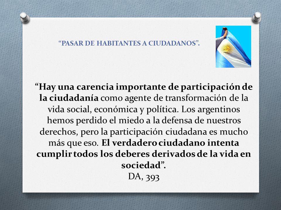 PASAR DE HABITANTES A CIUDADANOS .