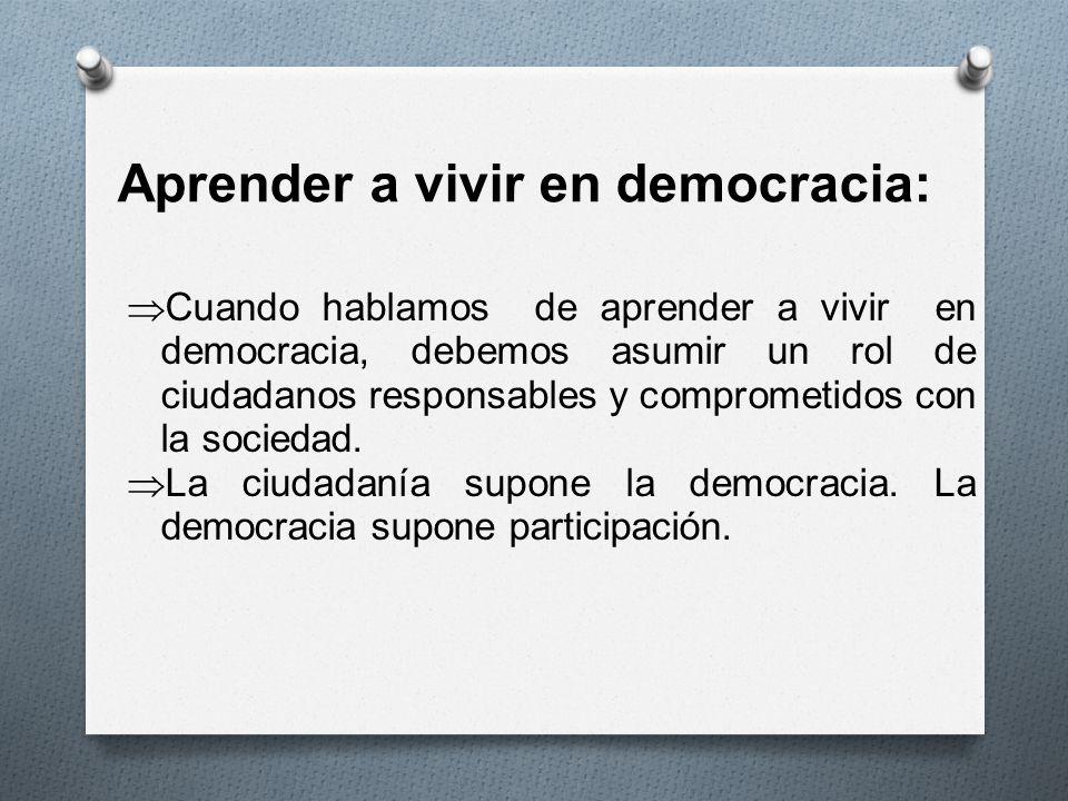 Aprender a vivir en democracia: