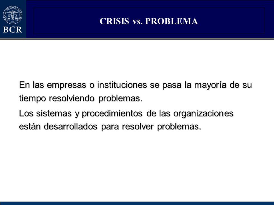 CRISIS vs. PROBLEMA En las empresas o instituciones se pasa la mayoría de su tiempo resolviendo problemas.