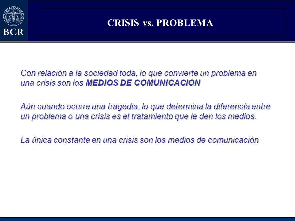 CRISIS vs. PROBLEMA Con relación a la sociedad toda, lo que convierte un problema en una crisis son los MEDIOS DE COMUNICACION.
