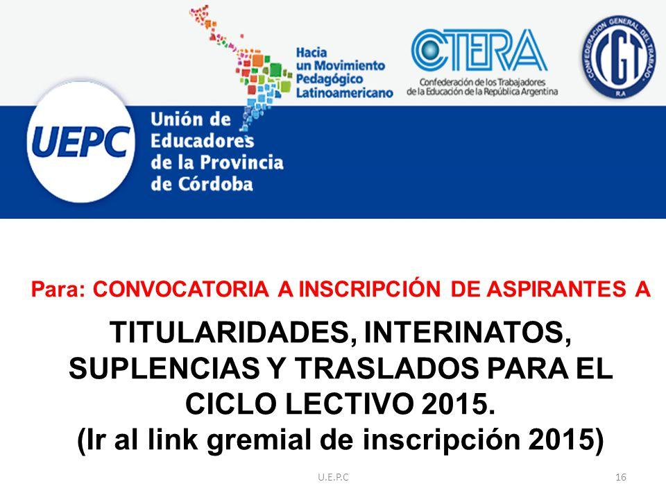 Para: CONVOCATORIA A INSCRIPCIÓN DE ASPIRANTES A