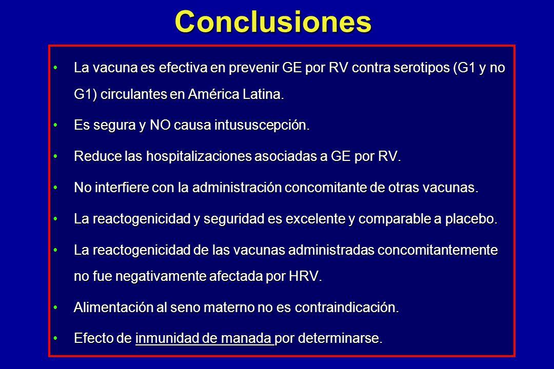 Conclusiones La vacuna es efectiva en prevenir GE por RV contra serotipos (G1 y no G1) circulantes en América Latina.