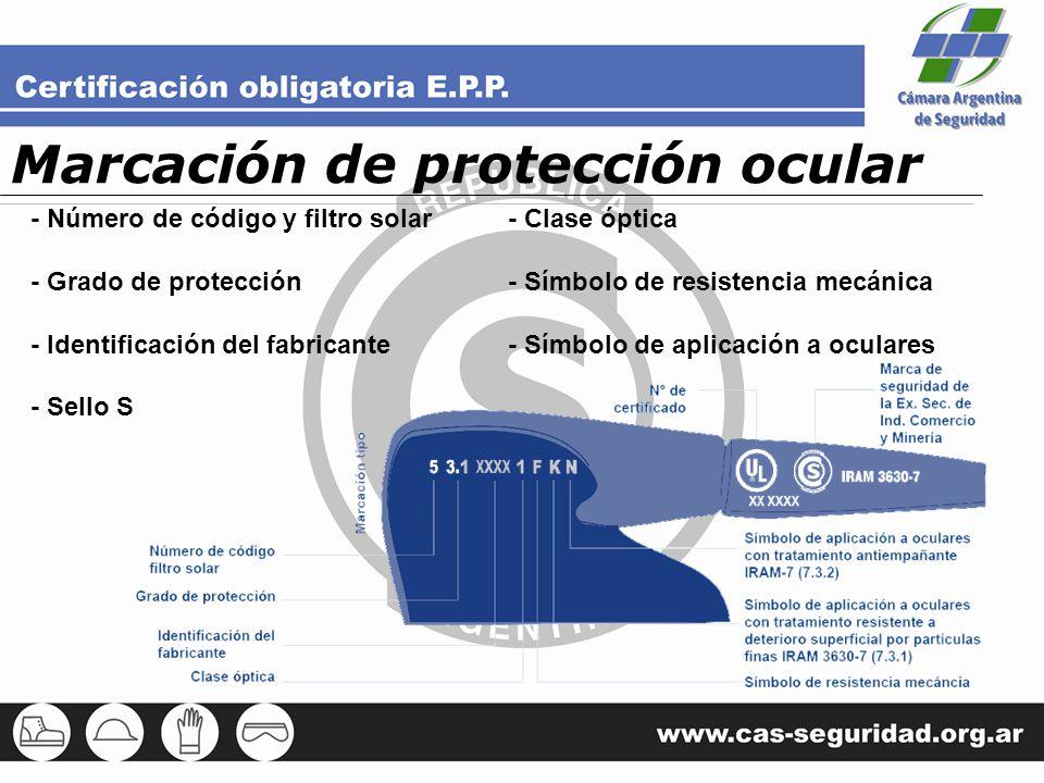 Marcación de protección ocular