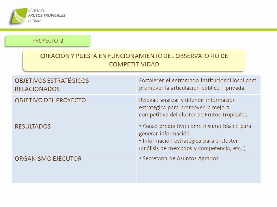 CREACIÓN Y PUESTA EN FUNCIONAMIENTO DEL OBSERVATORIO DE COMPETITIVIDAD