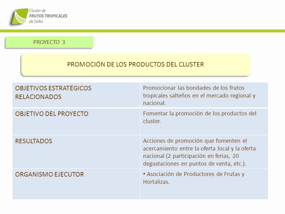PROMOCIÓN DE LOS PRODUCTOS DEL CLUSTER
