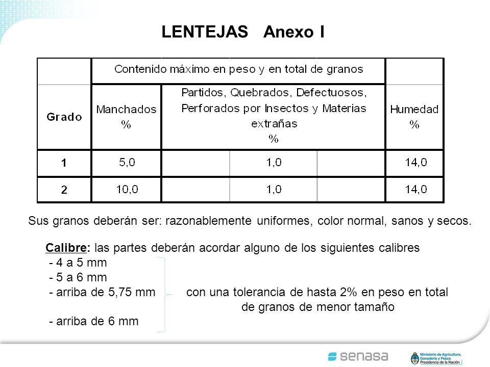 LENTEJAS Anexo I Sus granos deberán ser: razonablemente uniformes, color normal, sanos y secos.