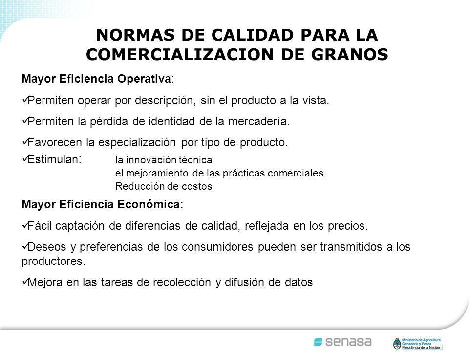 NORMAS DE CALIDAD PARA LA COMERCIALIZACION DE GRANOS