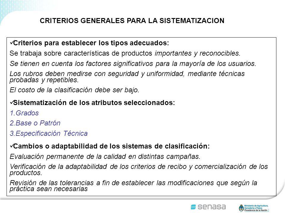 CRITERIOS GENERALES PARA LA SISTEMATIZACION