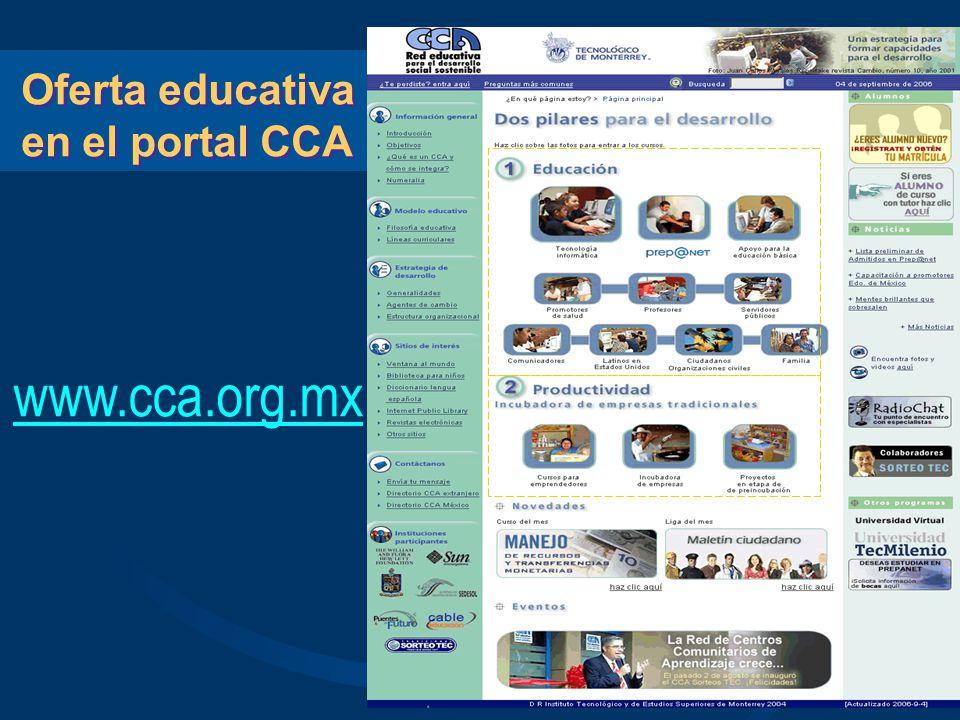 Oferta educativa en el portal CCA