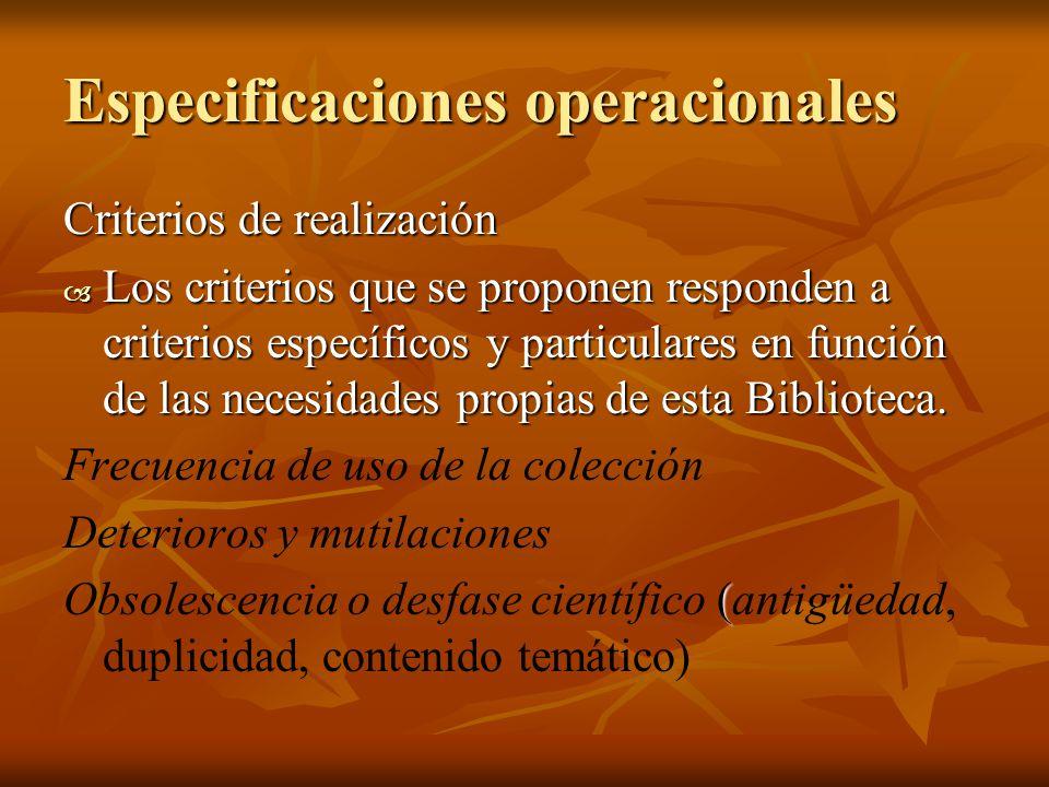 Especificaciones operacionales
