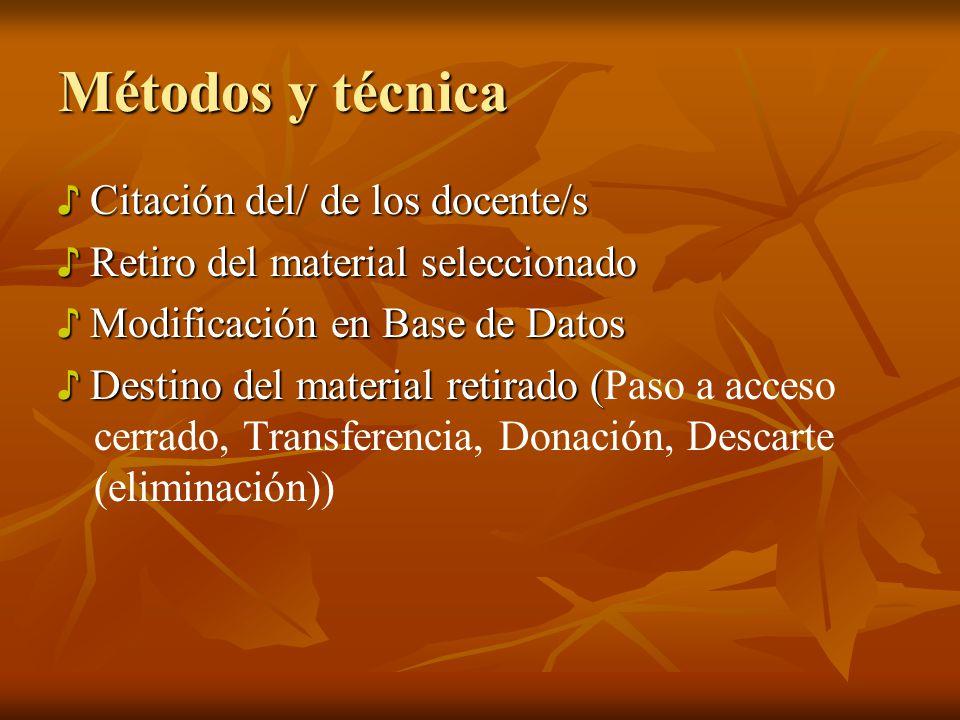 Métodos y técnica ♪ Citación del/ de los docente/s