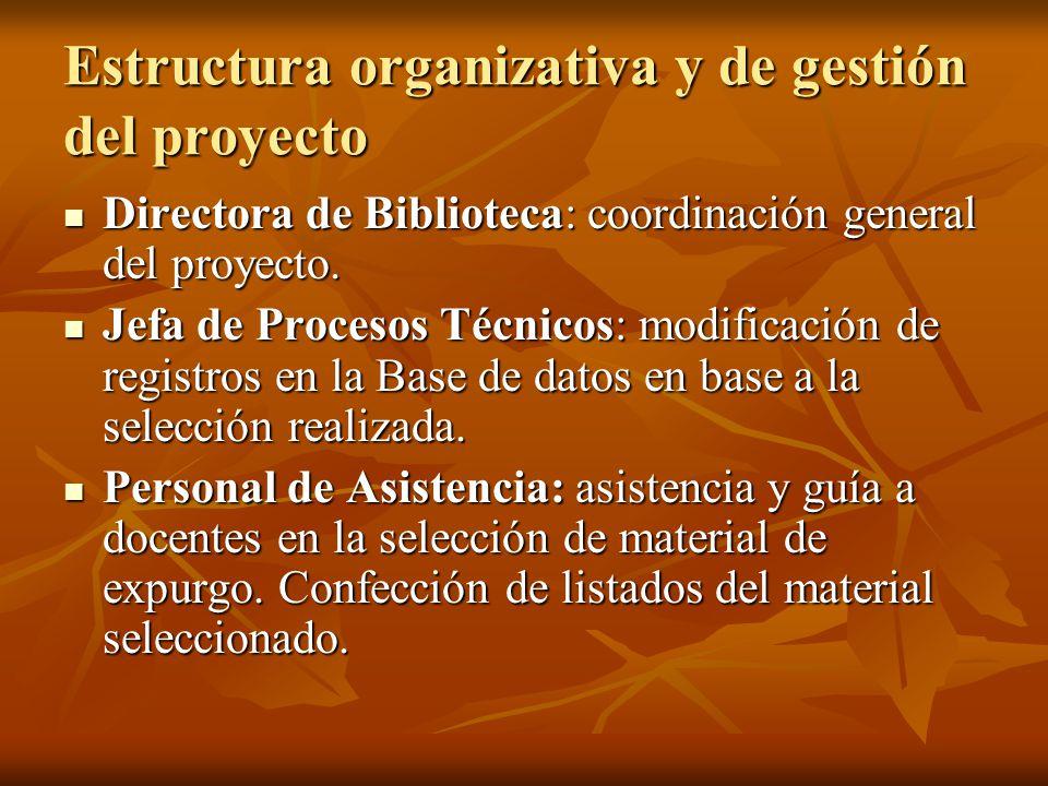 Estructura organizativa y de gestión del proyecto