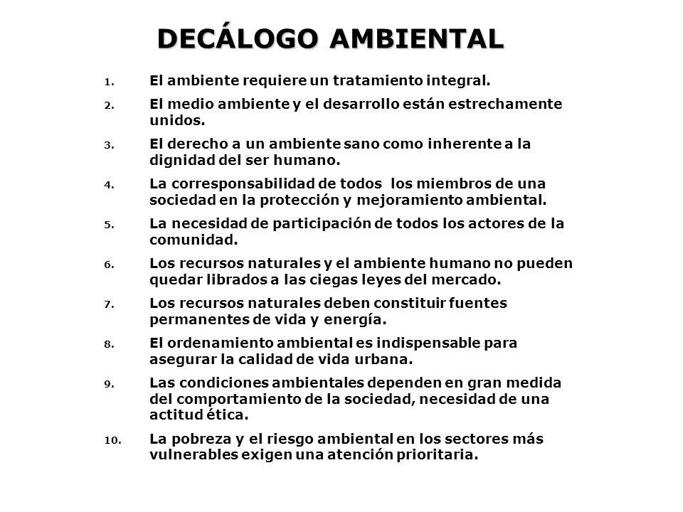 DECÁLOGO AMBIENTAL El ambiente requiere un tratamiento integral.