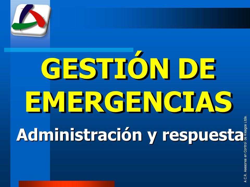 GESTIÓN DE EMERGENCIAS Administración y respuesta