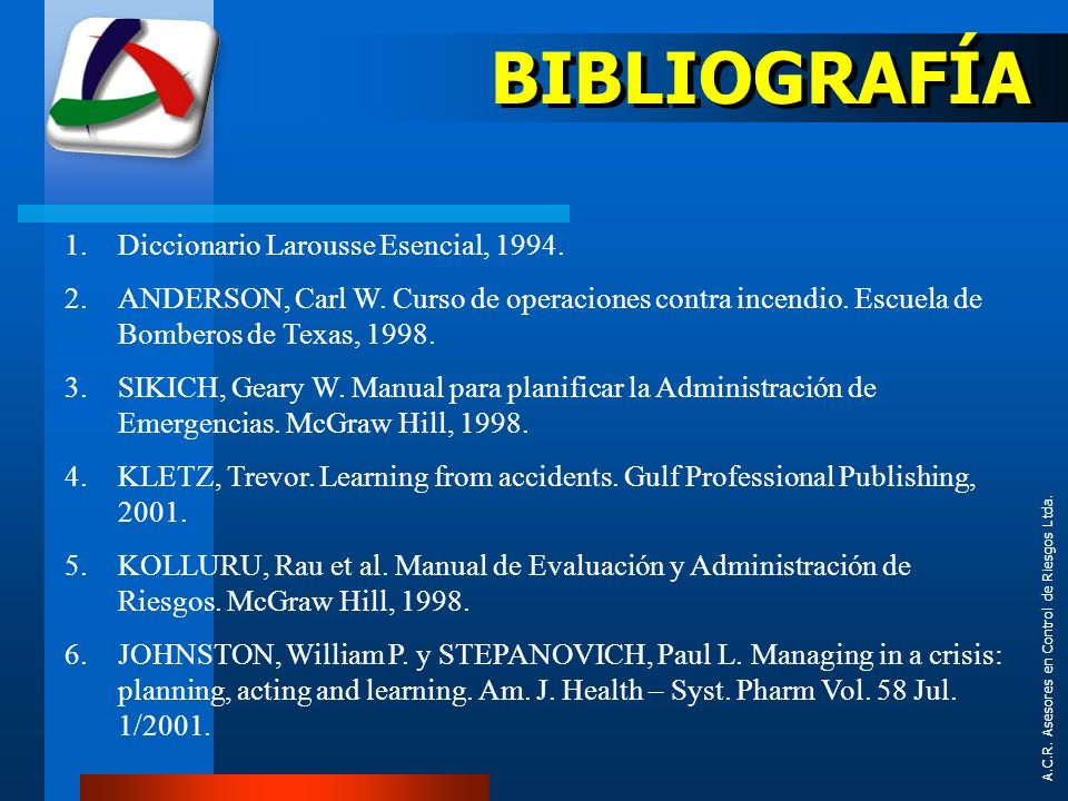 BIBLIOGRAFÍA Diccionario Larousse Esencial, 1994.