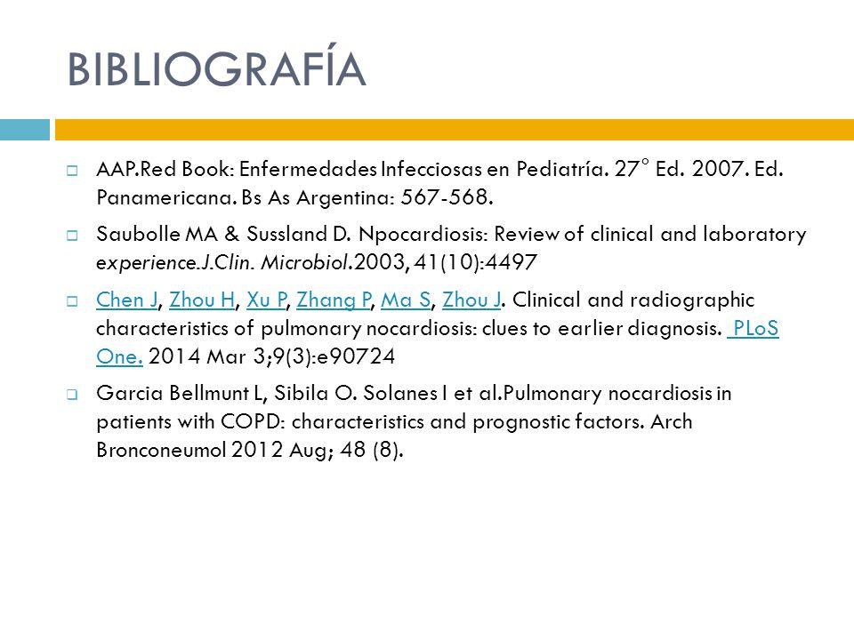 BIBLIOGRAFÍA AAP.Red Book: Enfermedades Infecciosas en Pediatría. 27° Ed. 2007. Ed. Panamericana. Bs As Argentina: 567-568.