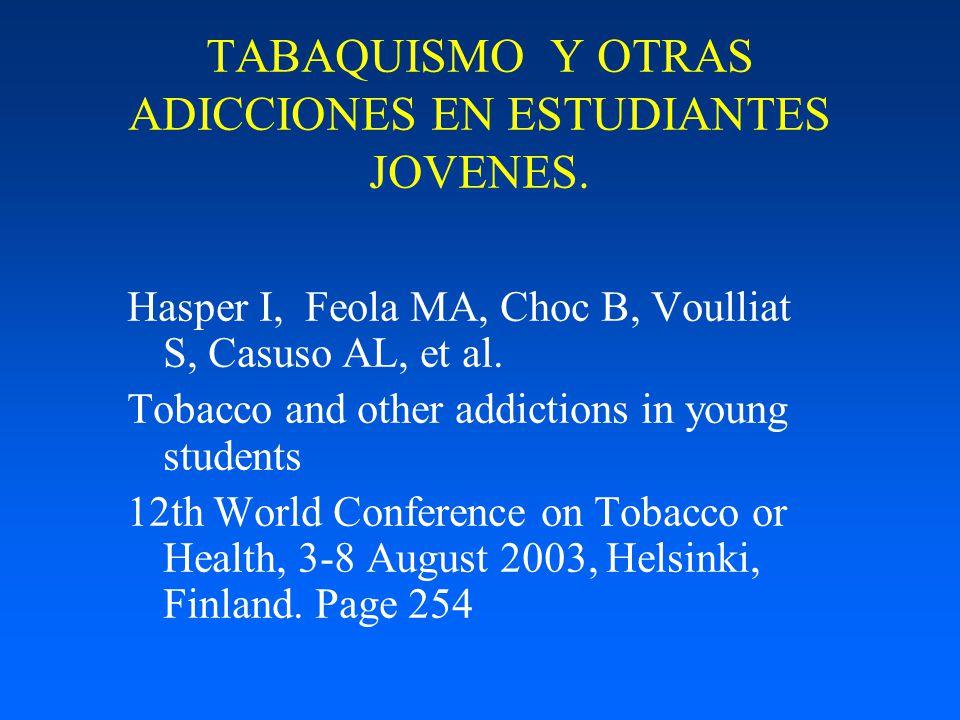 TABAQUISMO Y OTRAS ADICCIONES EN ESTUDIANTES JOVENES.