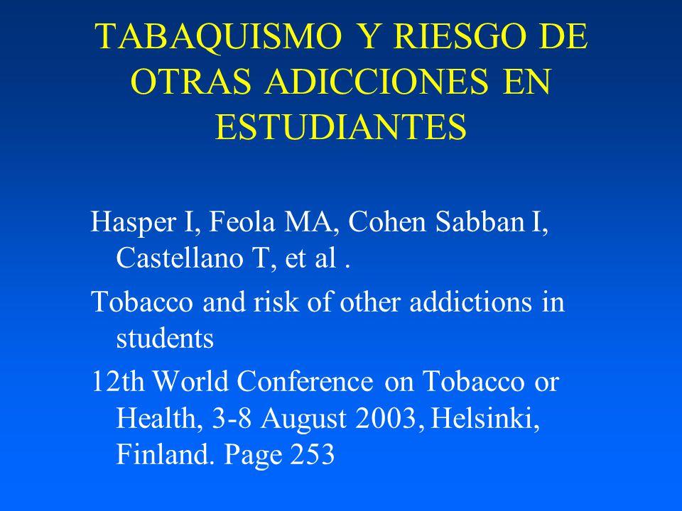 TABAQUISMO Y RIESGO DE OTRAS ADICCIONES EN ESTUDIANTES