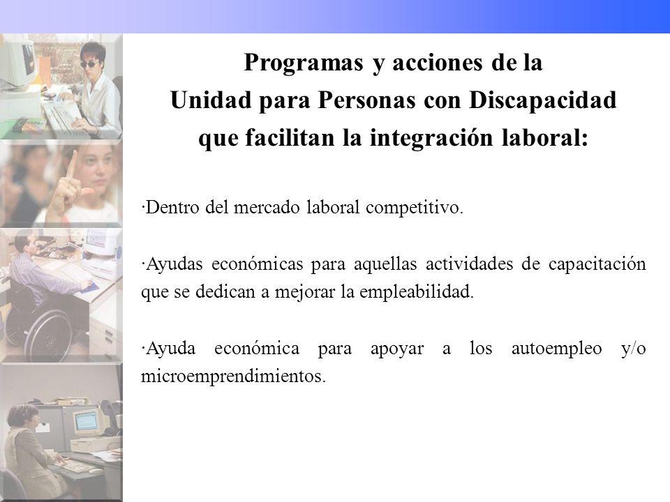 Programas y acciones de la Unidad para Personas con Discapacidad