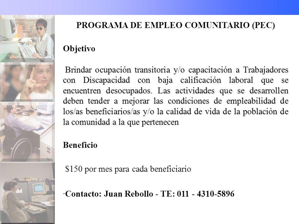 PROGRAMA DE EMPLEO COMUNITARIO (PEC)