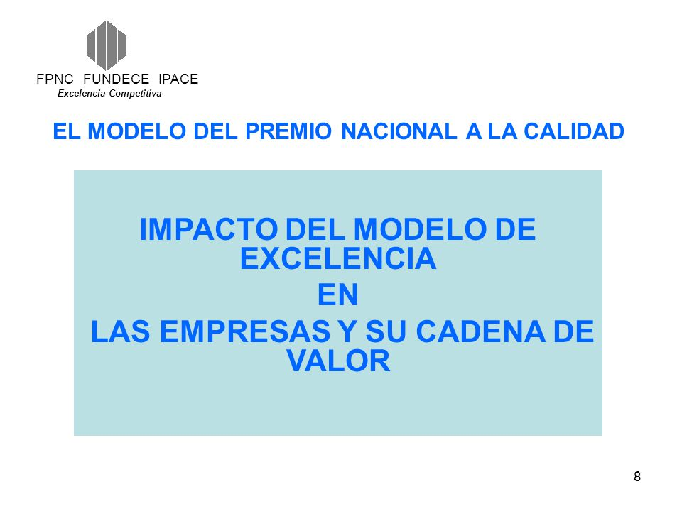 IMPACTO DEL MODELO DE EXCELENCIA LAS EMPRESAS Y SU CADENA DE VALOR