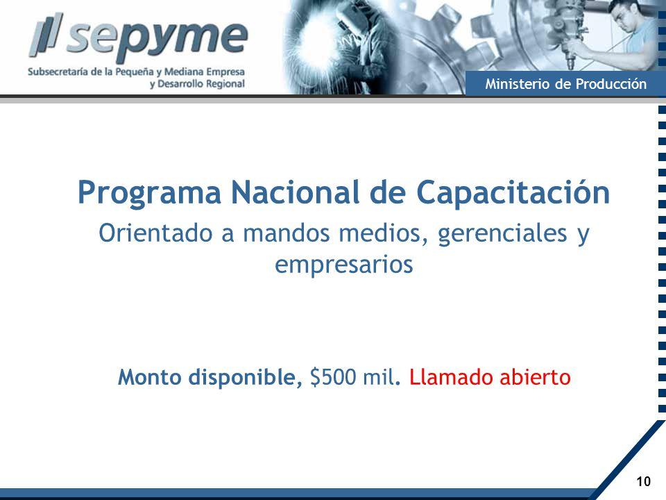 Programa Nacional de Capacitación Orientado a mandos medios, gerenciales y empresarios Monto disponible, $500 mil.