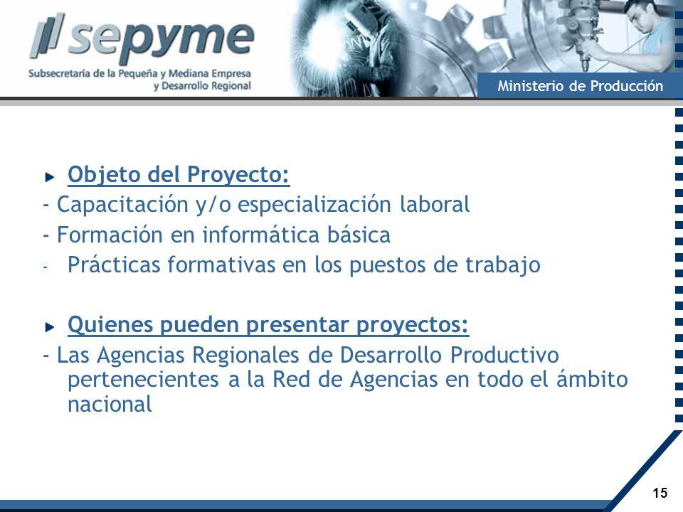 Objeto del Proyecto: - Capacitación y/o especialización laboral. - Formación en informática básica.