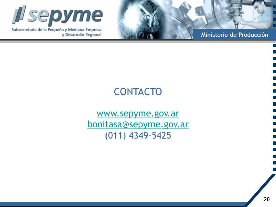 CONTACTO www.sepyme.gov.ar bonitasa@sepyme.gov.ar (011) 4349-5425