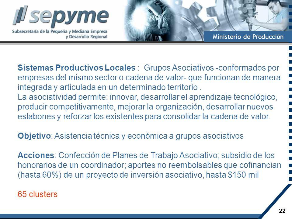 Sistemas Productivos Locales : Grupos Asociativos -conformados por empresas del mismo sector o cadena de valor- que funcionan de manera integrada y articulada en un determinado territorio .