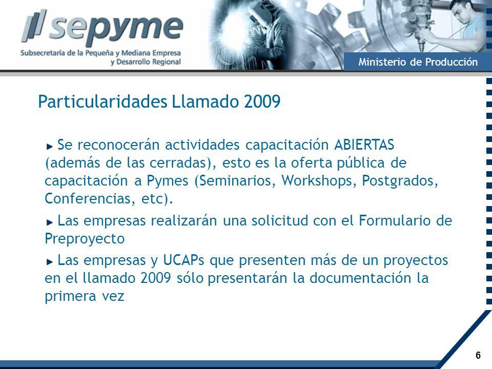 Particularidades Llamado 2009