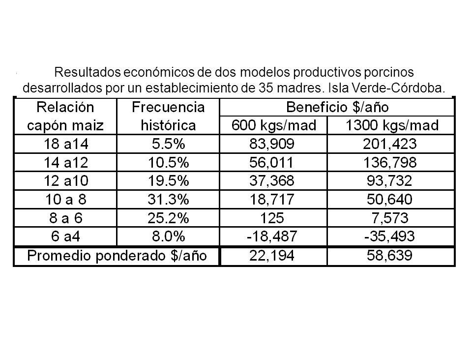Resultados económicos de dos modelos productivos porcinos desarrollados por un establecimiento de 35 madres.