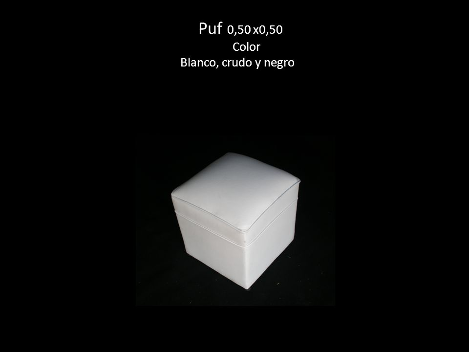 Puf 0,50 x0,50 Color Blanco, crudo y negro
