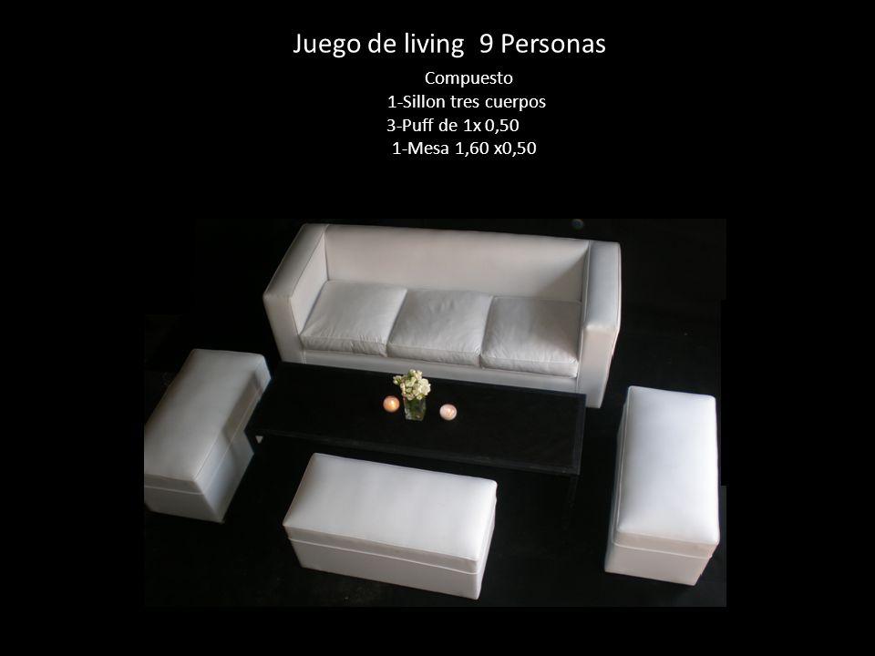 Juego de living 9 Personas Compuesto 1-Sillon tres cuerpos 3-Puff de 1x 0,50 1-Mesa 1,60 x0,50