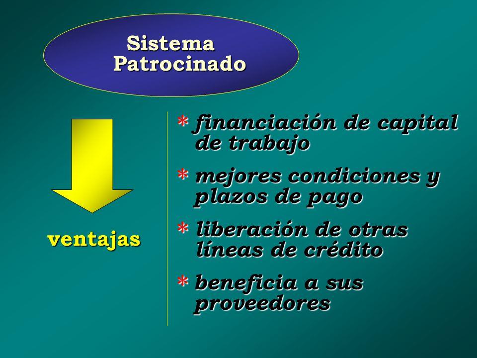 Sistema Patrocinado financiación de capital de trabajo. mejores condiciones y plazos de pago. liberación de otras líneas de crédito.