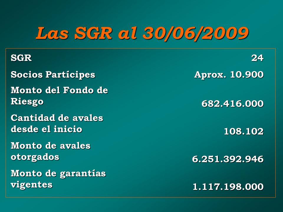 Las SGR al 30/06/2009 SGR 24 Socios Partícipes Aprox. 10.900