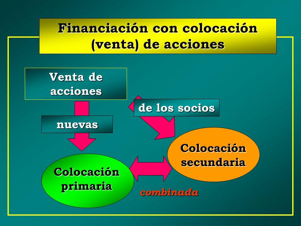 Financiación con colocación (venta) de acciones Colocación secundaria