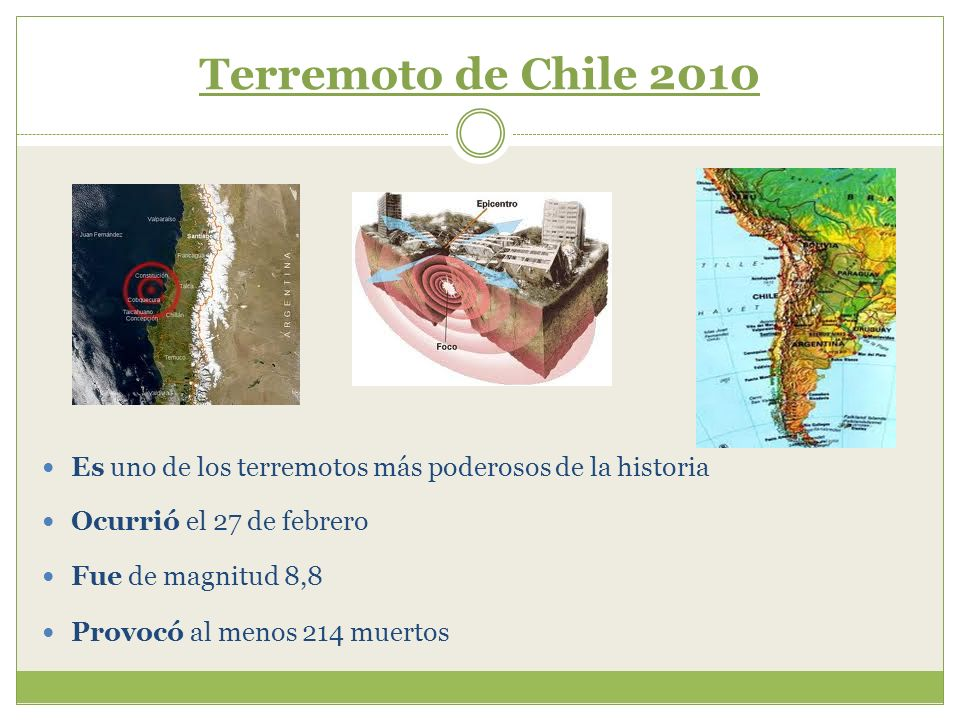 Terremoto de Chile 2010 Es uno de los terremotos más poderosos de la historia. Ocurrió el 27 de febrero.