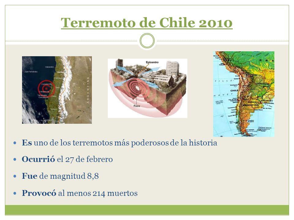 Terremoto de Chile 2010Es uno de los terremotos más poderosos de la historia. Ocurrió el 27 de febrero.