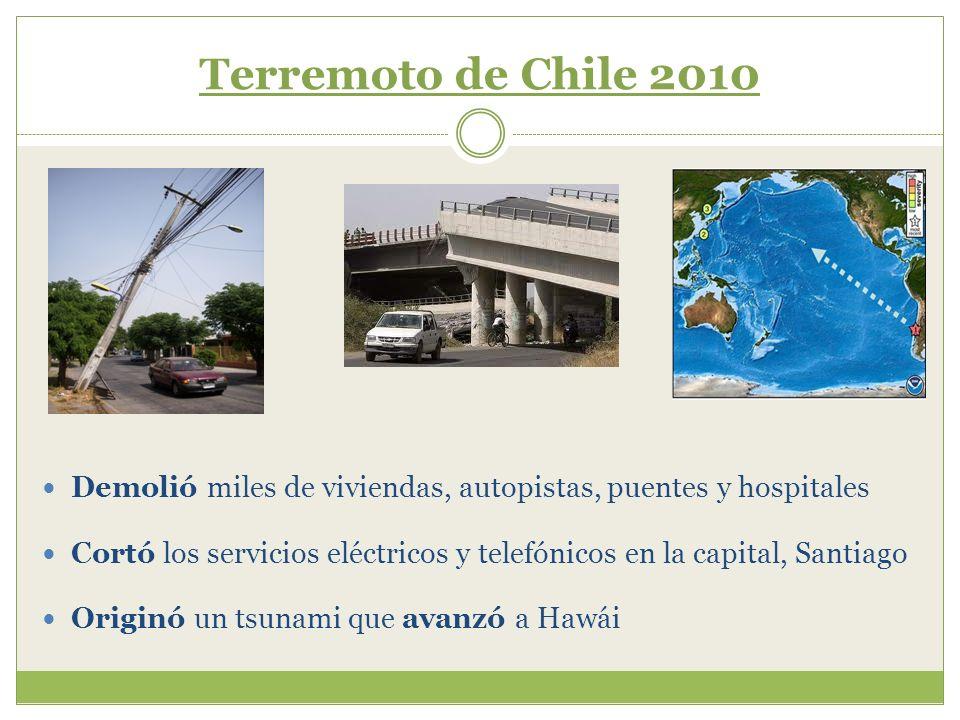 Terremoto de Chile 2010 Demolió miles de viviendas, autopistas, puentes y hospitales.