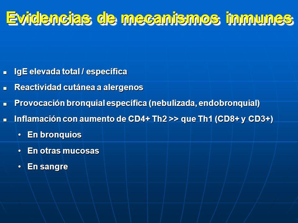 Evidencias de mecanismos inmunes