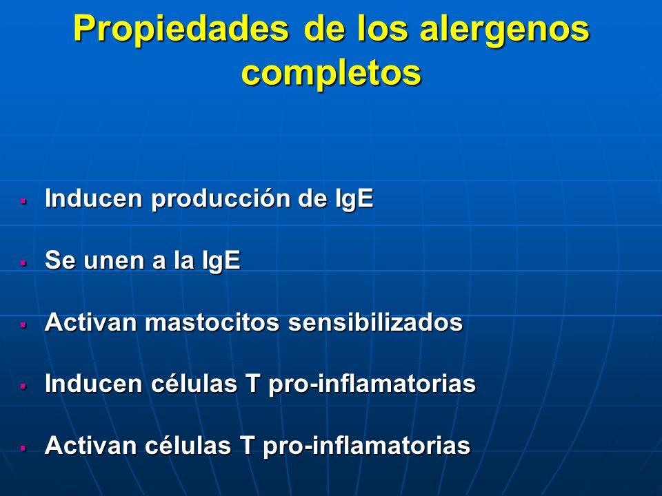 Propiedades de los alergenos completos