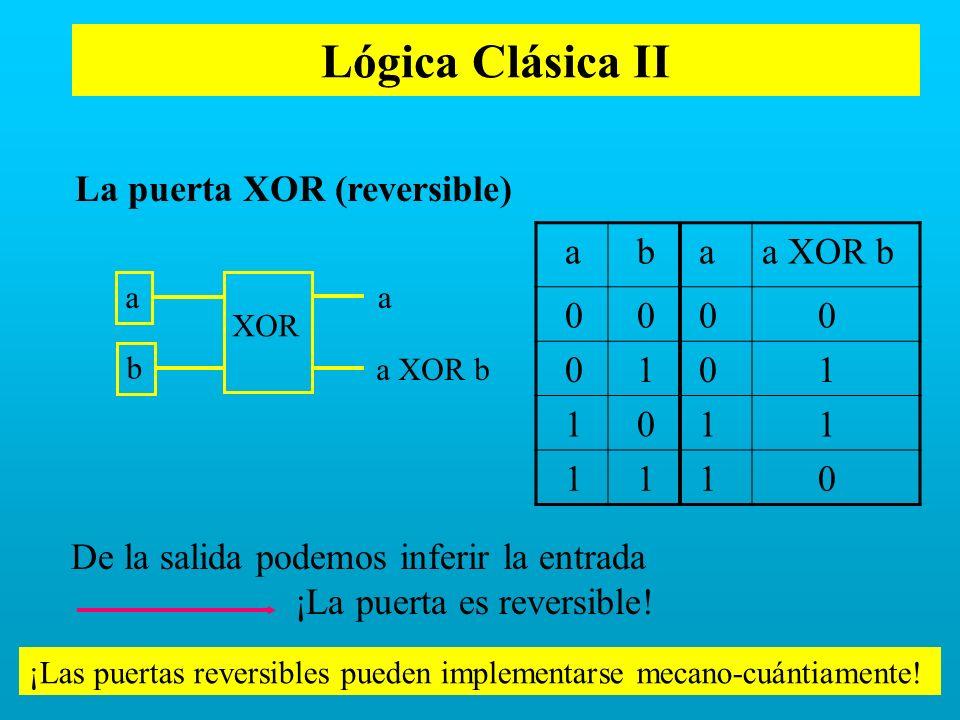 Lógica Clásica II a b a XOR b 1